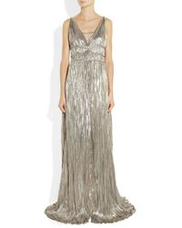 Oscar de la Renta - Metallic Pleated Lamé Gown - Lyst