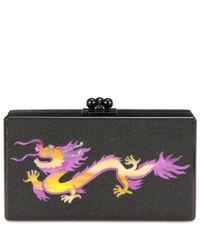 Edie Parker Black Jean Dragon Box Clutch