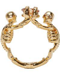 Alexander McQueen - Metallic Gold Twin Skeleton Ring - Lyst