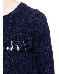 Thakoon   Blue Sequin Loop Fringe Wool-angora Sweater   Lyst