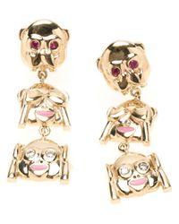 Alison Lou | Metallic Three Monkeys Drop Earrings | Lyst