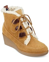Tommy Hilfiger | Natural Eddan Faux-fur Booties | Lyst
