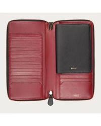 Bally Red Clifford Women ́s Leather Travel Wallet In Black