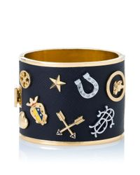 Tory Burch | Blue Dellora Charm Leather Cuff | Lyst