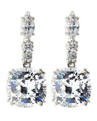 Fantasia by Deserio - Blue Asscher-cut Drop Cz Earrings - Lyst