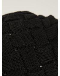 Bottega Veneta Black Intrecciato Knit Beanie Hat for men