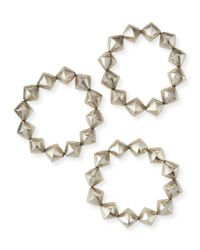 Nest | Metallic Silver Cone Stretch Bracelets | Lyst