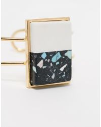 ASOS | Metallic Color Block Stone Caged Cuff Bracelet | Lyst