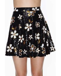 Nasty Gal | Black Disco Daisy Sequin Skirt | Lyst