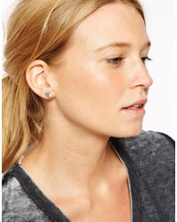 ASOS | Black Double Triangle Stud And Swing Earrings | Lyst