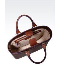 Emporio Armani Brown Tote Bag In Boarded Calfskin