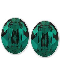 Swarovski | Green Rhodium-Plated Stud Earrings | Lyst