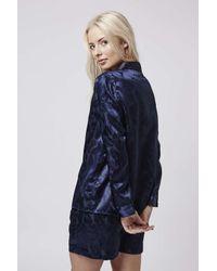 TOPSHOP - Blue Leaf Jacquard Pyjama Set - Lyst