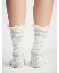 Free People | Gray Laweson Ruffle Boot Sock | Lyst