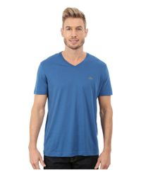 Lacoste Blue Short Sleeve Jersey Pima V Neck T-shirt for men