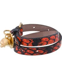 Alexander McQueen - Red Snake Leather Double Wrap Skull Charm Bracelet for Men - Lyst