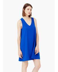 Mango - Blue V-neckline Dress - Lyst