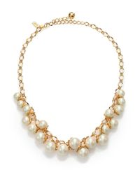 kate spade new york - Metallic Petaled Faux Pearl Necklace - Lyst