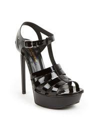 Saint Laurent | Black Bianca Patent Leather Platform Sandals | Lyst
