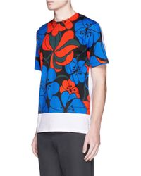 Marni Red Hawaiian Floral Print T-shirt for men