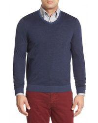 John W. Nordstrom   Blue John W. Nordstrom Regular Fit Stripe V-neck Sweater for Men   Lyst