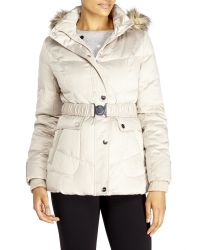 DKNY - Natural Belted Faux Fur Trim Down Coat - Lyst