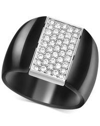 Swarovski | Black Two-Tone Pavè Rotating Ring | Lyst
