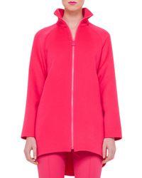 Akris - Pink Long-sleeve Zip-front Double-cashmere Coat - Lyst
