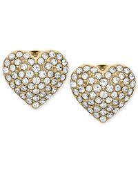 Michael Kors - Metallic Crystal Heart Stud Earrings - Lyst