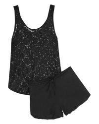 Elle Macpherson | Black Hippy Crochet-Knit and Stretch-Jersey Pajama Set | Lyst