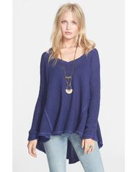 Free People Blue 'moonshine V' Cold Shoulder Sweater