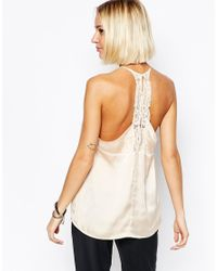 SELECTED | White Love Strappy Lace Back Cami | Lyst