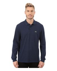 Lacoste | Blue Long Sleeve Classic Chine Pique Polo for Men | Lyst
