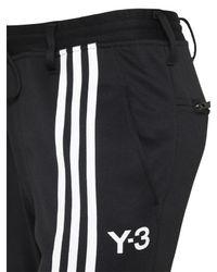 Y-3 | Black Striped Techno Cotton Jogging Pants for Men | Lyst
