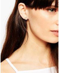 ASOS | Metallic Sterling Silver Open Squares Stud Earrings | Lyst