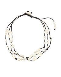 Gardenia | Black Leather  Freshwater Pearl Necklace | Lyst