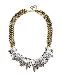 BaubleBar | Metallic 'Double Bamm-Bamm' Crystal Bib Necklace - Antique Gold | Lyst