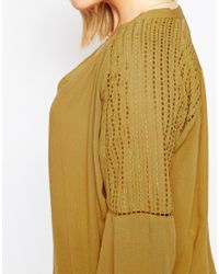 ASOS - Yellow Curve 70's Lace Front Tunic Top With Embroidery - Lyst