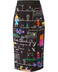 Dolce & Gabbana - Black Drawings Print Pencil Skirt - Lyst