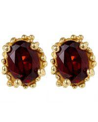 Ruth Tomlinson | Red Gold Beaded Garnet Stud Earrings | Lyst