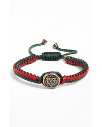 Gucci | Red 'crest' Woven Leather Bracelet for Men | Lyst