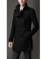 Burberry - Black Short Cotton Gabardine Trench Coat for Men - Lyst