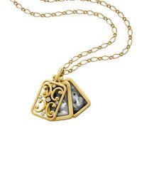 Monica Rich Kosann Metallic 18k Gold Rectangular Gate Pendant Necklace