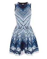 Karen Millen | Blue Marble Jacquard Full Skirted Knit Dress | Lyst