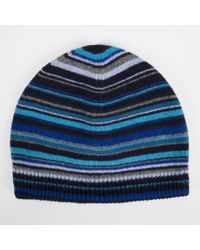 Paul Smith Men's Blue Signature Stripe Wool-blend Beanie Hat for men