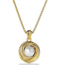David Yurman Yellow Pearl Crossover Pendant With Diamonds In Gold On Chain