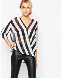 AX Paris | Black Cross Front Blouse In Stripe | Lyst