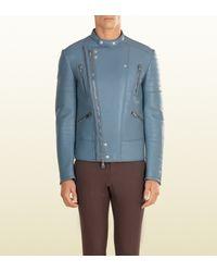 Gucci - Blue Leather Biker Jacket for Men - Lyst