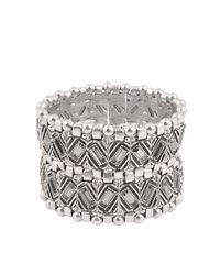 Philippe Audibert | Metallic Loa Double Wrap Strass Cuff | Lyst