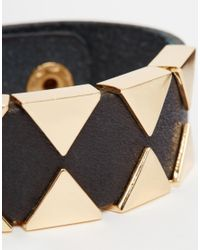 ASOS | Metallic Leather Bracelet In Black With Gold Geo for Men | Lyst